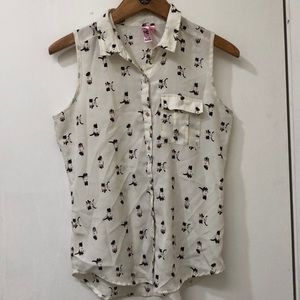 Siamese cat print button up tank top